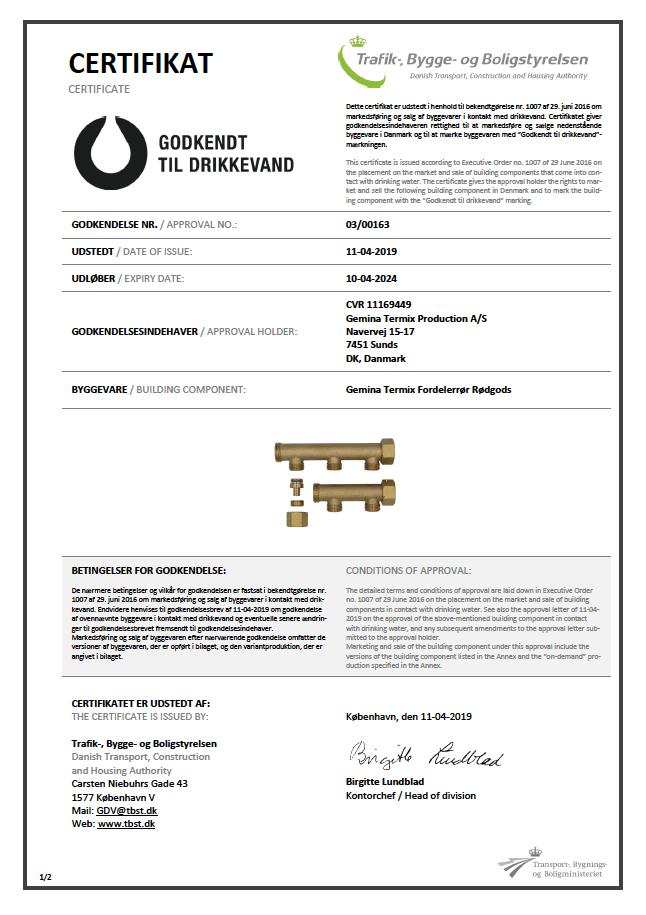 Certifikat 03/00163 dækker rødgods fordelerrør 2- og 3 vejs.